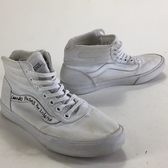 White Vans High Top Shoes Primo Distressed Tagged